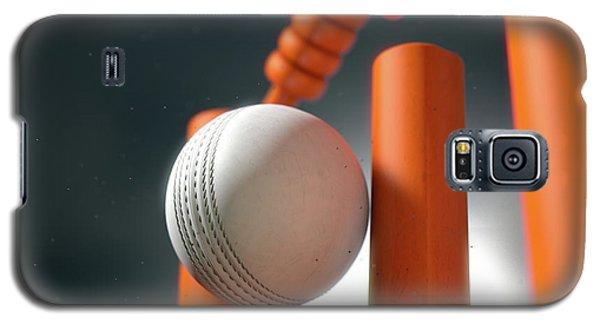 Cricket Ball Hitting Wickets Galaxy S5 Case by Allan Swart