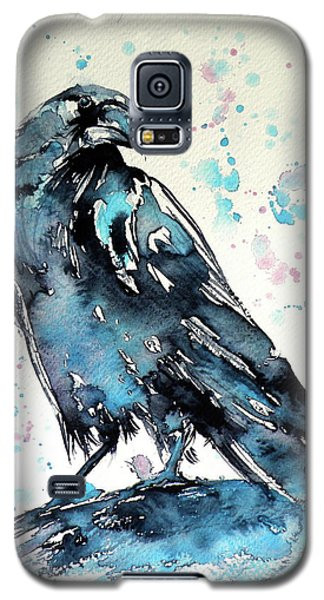 Galaxy S5 Case featuring the painting Crow by Kovacs Anna Brigitta