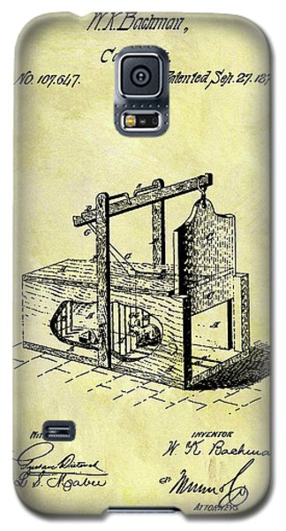 Galaxy S5 Case featuring the mixed media 1870 Mousetrap Patent by Dan Sproul