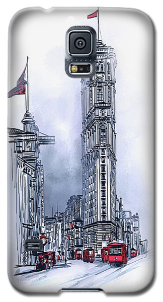Galaxy S5 Case featuring the painting 1908 Times Square,ny by Andrzej Szczerski