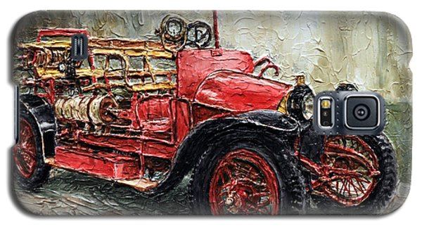 Galaxy S5 Case featuring the painting 1912 Porsche Fire Truck by Joey Agbayani