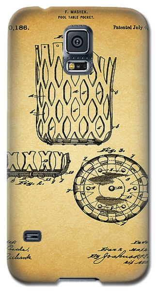 Galaxy S5 Case featuring the mixed media 1916 Pool Table Pocket Patent by Dan Sproul