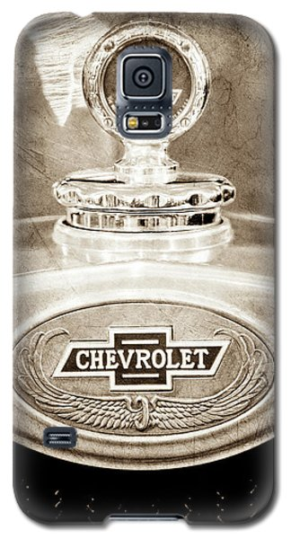 Galaxy S5 Case featuring the photograph 1928 Chevrolet 2 Door Coupe Hood Ornament Moto Meter -0789s by Jill Reger
