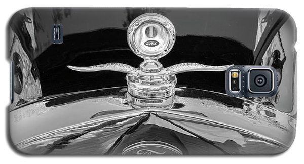 Galaxy S5 Case featuring the photograph 1929 Ford Model A Hood Ornament Bw by Rich Franco