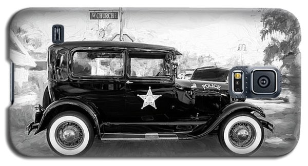 Galaxy S5 Case featuring the photograph 1929 Ford Model A Tudor Police Sedan Bw by Rich Franco