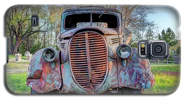 Galaxy S5 Case featuring the photograph 1936 Model 511 1/2 Ton Stakebed Farm Truck Near Charlevoix, Mic by Peter Ciro