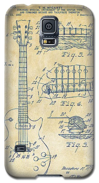 1955 Mccarty Gibson Les Paul Guitar Patent Artwork Vintage Galaxy S5 Case by Nikki Marie Smith