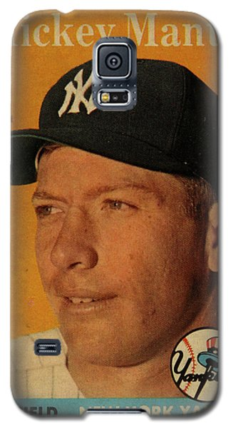 1958 Topps Baseball Mickey Mantle Card Vintage Poster Galaxy S5 Case by Design Turnpike