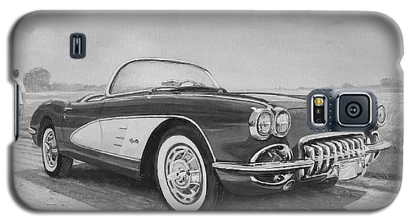 1959 Chevrolet Corvette Cabriolet In Black And White Galaxy S5 Case