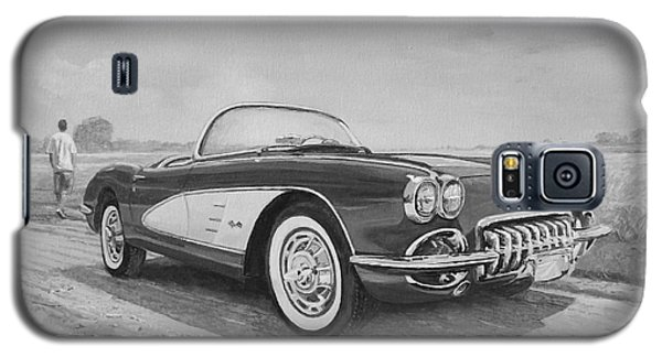1959 Chevrolet Corvette Cabriolet In Black And White Galaxy S5 Case