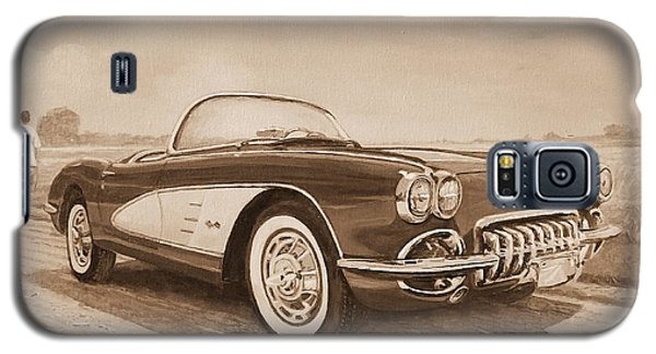 1959 Chevrolet Corvette Cabriollet In Sepia Galaxy S5 Case