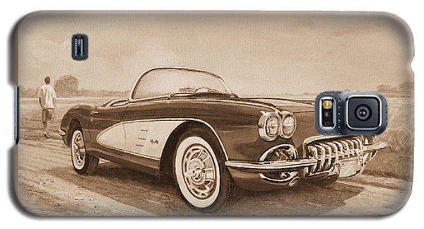 1959 Chevrolet Corvette Cabriollet In Sepia Galaxy S5 Case