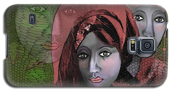 Galaxy S5 Case featuring the digital art 1974 - Women In Rosecoloured Clothes - 2017 by Irmgard Schoendorf Welch