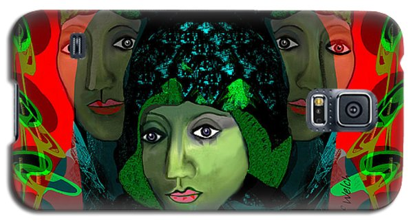 Galaxy S5 Case featuring the digital art 1975 - Mystery Woman by Irmgard Schoendorf Welch