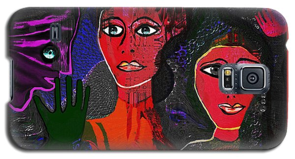 Galaxy S5 Case featuring the digital art 1977 - Faces Red by Irmgard Schoendorf Welch