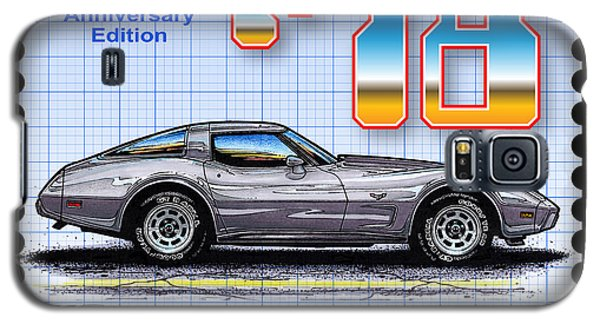 Galaxy S5 Case featuring the drawing 1978 Silver Anniversary Edition Corvette by K Scott Teeters