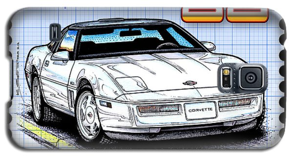 Galaxy S5 Case featuring the drawing 1988 35th Anniversary Special Edtion Corvette by K Scott Teeters
