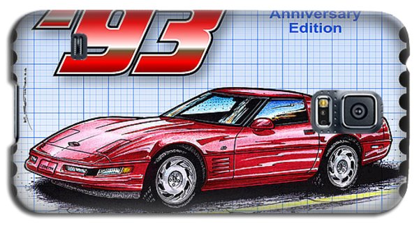 Galaxy S5 Case featuring the drawing 1993 40th Anniversary Edition Corvette by K Scott Teeters