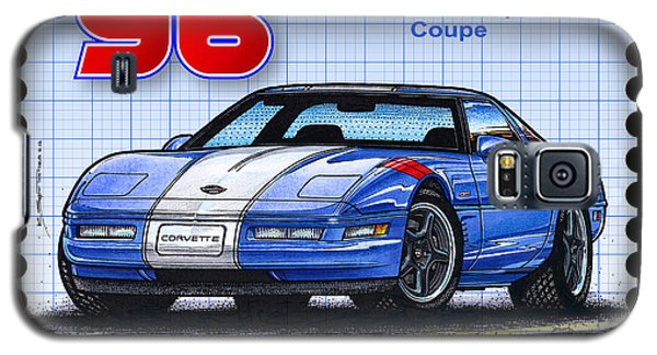 Galaxy S5 Case featuring the drawing 1996 Grand Sport Corvette by K Scott Teeters