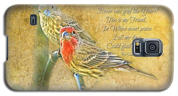 A Pair Of Housefinches With Verse Part 2 - Digital Paint Galaxy S5 Case