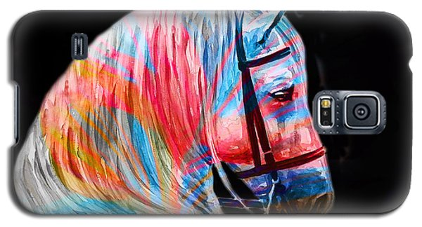 Galaxy S5 Case featuring the painting Abstract White Horse 19 by J- J- Espinoza