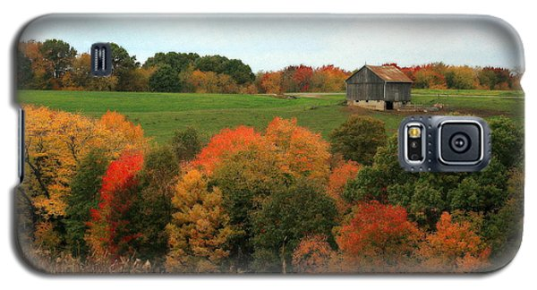 Galaxy S5 Case featuring the photograph Barn On Autumn Hillside by Angela Rath