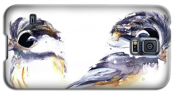 Galaxy S5 Case featuring the painting 2 Chickadees by Dawn Derman