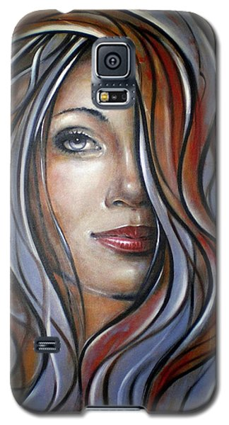 Galaxy S5 Case featuring the painting Cool Blue Smile 070709 by Selena Boron