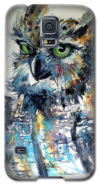 Galaxy S5 Case featuring the painting Cute Owl by Kovacs Anna Brigitta