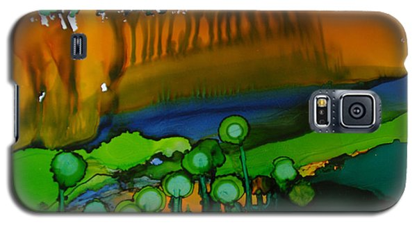 Galaxy S5 Case featuring the painting Exotic Landscape # 53. by Sima Amid Wewetzer