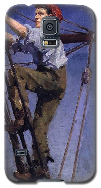 Galaxy S5 Case featuring the painting Going Aloft by Henry Scott Tuke