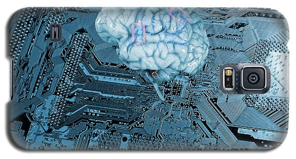 Galaxy S5 Case featuring the photograph Human Brain And Communication by Christian Lagereek