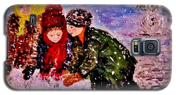 Galaxy S5 Case featuring the painting Let It Snow..let It Snow..  by Cristina Mihailescu