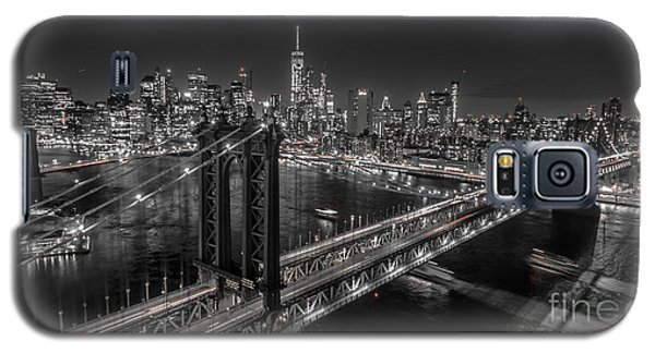 New York City, Manhattan Bridge At Night Galaxy S5 Case