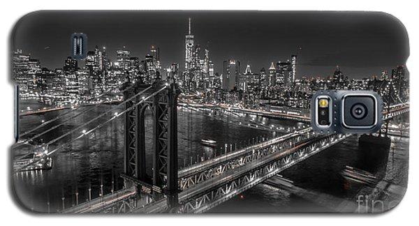 Galaxy S5 Case featuring the photograph New York City, Manhattan Bridge At Night by Petr Hejl
