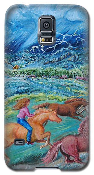 Galaxy S5 Case featuring the painting Racing The Lightning Home by Dawn Senior-Trask