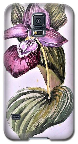 Galaxy S5 Case featuring the painting Slipper Foot Orchid by Mindy Newman