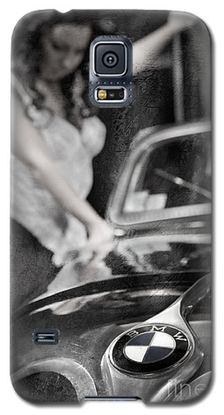 Galaxy S5 Case featuring the photograph The Girl On The Background Of Vintage Car. by Andrey  Godyaykin