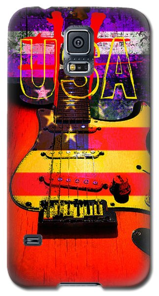 Red Usa Flag Guitar  Galaxy S5 Case