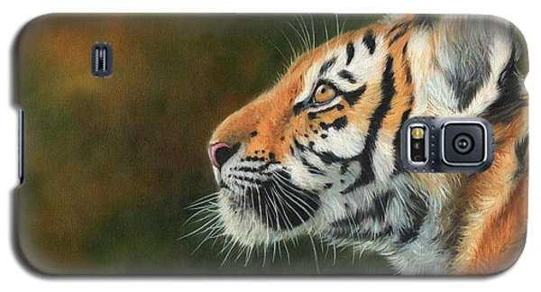 Galaxy S5 Case featuring the painting Young Amur Tiger  by David Stribbling
