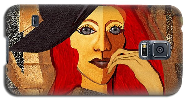 200 - Woman With Black Hat .... Galaxy S5 Case by Irmgard Schoendorf Welch