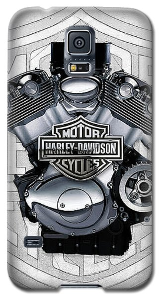 Galaxy S5 Case featuring the digital art 2002 Harley-davidson Revolution Engine With 3d Badge  by Serge Averbukh