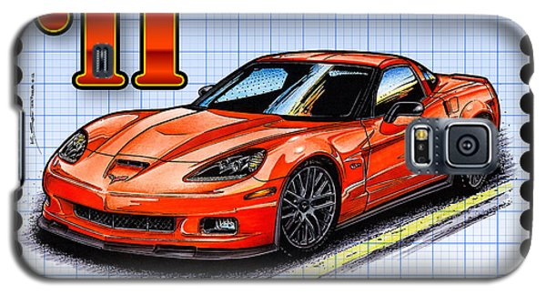 Galaxy S5 Case featuring the drawing 2011 Z06 Carbon Edition Corvette by K Scott Teeters