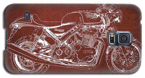 Sport Art Galaxy S5 Case - 2012 Norton Commando 961 Sport Blueprint Classic Motorcycle Red Background by Drawspots Illustrations