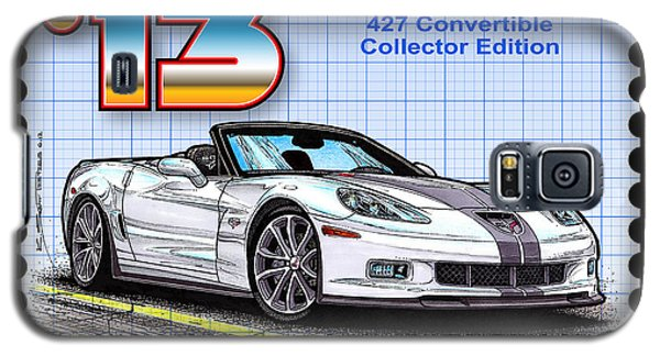 Galaxy S5 Case featuring the drawing 2013 60th Anniversary 427 Convertible Corvette by K Scott Teeters