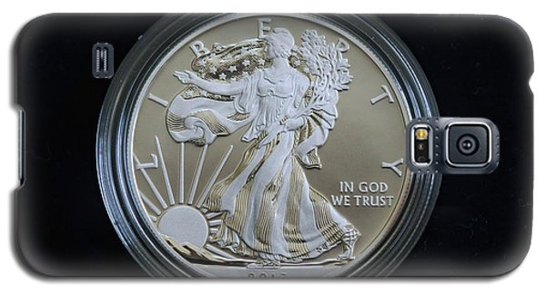 Galaxy S5 Case featuring the photograph 2013 Enhanced Uncirculated Silver Eagle Dollar Coin by Randy Steele