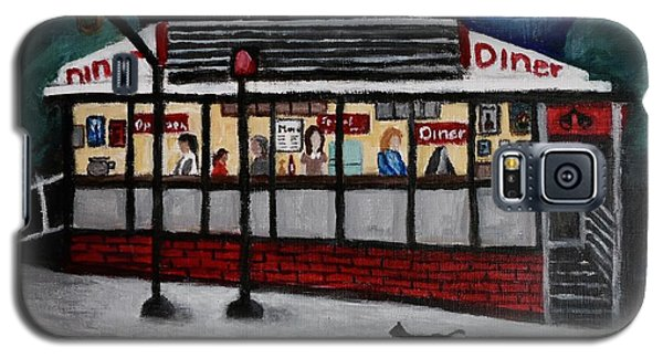 Galaxy S5 Case featuring the painting 24 Hour Diner by Victoria Lakes