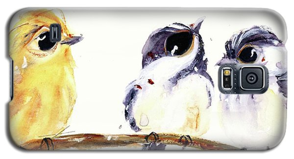 Galaxy S5 Case featuring the painting 3 Birds On A Branch by Dawn Derman