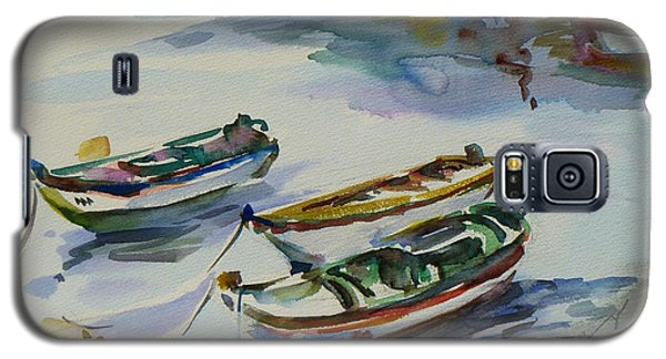 Galaxy S5 Case featuring the painting 3 Boats I by Xueling Zou