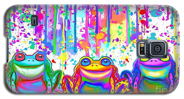 Galaxy S5 Case featuring the painting 3 Colorful Painted Frogs by Nick Gustafson